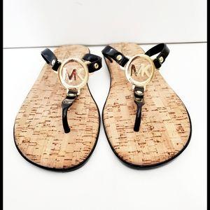 New Michael Kors Black Thong Cork Sandals